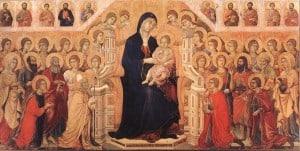 La Maestà (détail), partie centrale sans sa prédelle du recto (1308-1311), peinture sur bois, Museo dell'Opera del Duomo (Sienne), Duccio di Buoninsegna