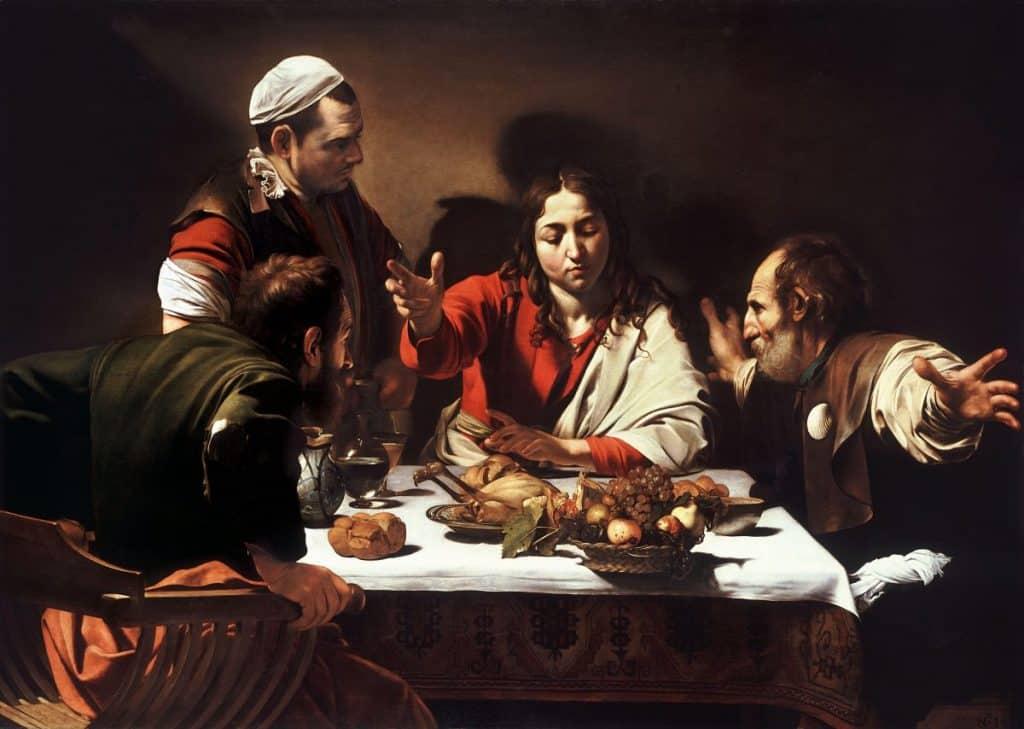 Le Souper à Emmaüs (Le Caravage, National Gallery, Londres).
